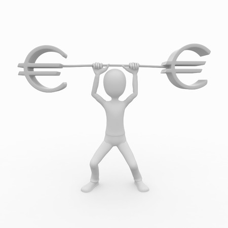 3d man with euro symbol heavy lift photo