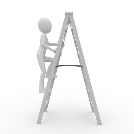 3d man worker climbing a ladder isolated on white Stock Photo - 7742150