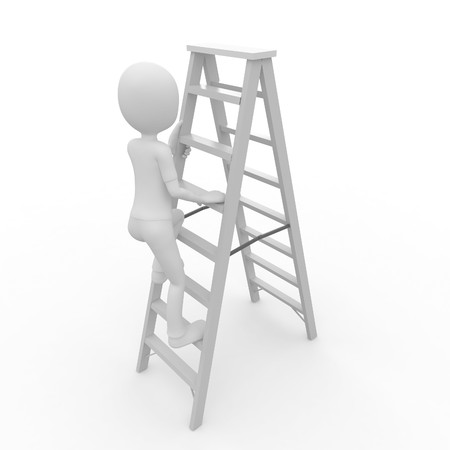 step up: 3d man worker climbing a ladder isolated on white