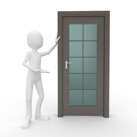 3d man salesman with a generic door photo