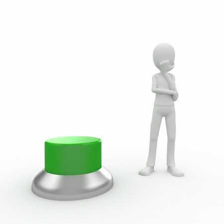 3d man with a green button wondering Stock Photo - 7742105