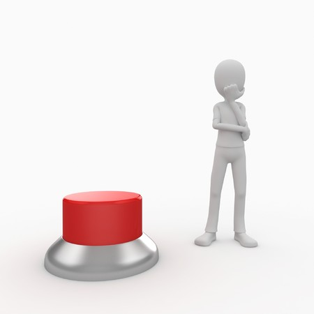 3d man with a green button wondering Stock Photo - 7742116