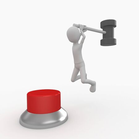 man symbol: 3d man hitting a red button with  hammer