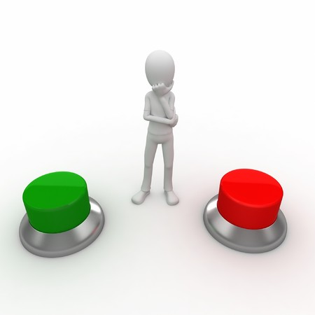3d man with red and green buttons wondering Stock Photo - 7742123