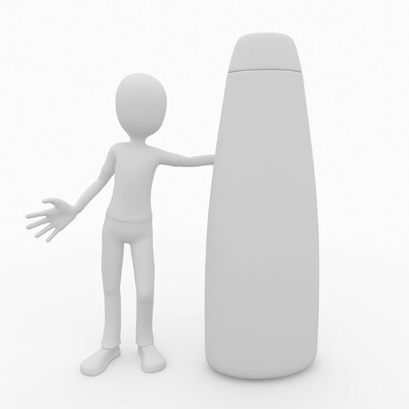 3d man with blank generic shampoo product photo