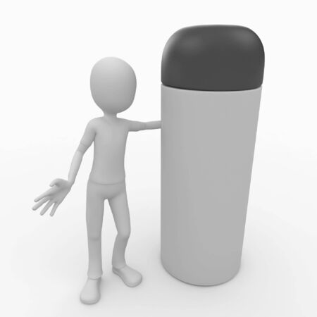 3d man with blank generic spray product photo