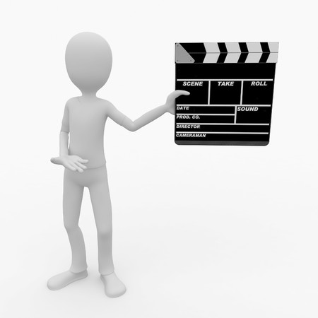 3d man with blank movie clapper photo