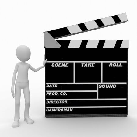 clap: 3d man with blank movie clapper Stock Photo