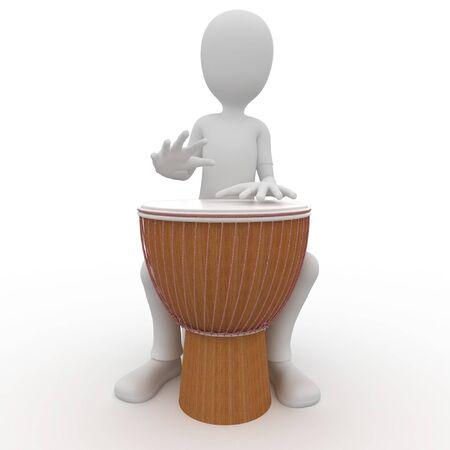 djembe: 3d man playing a big djembe drum