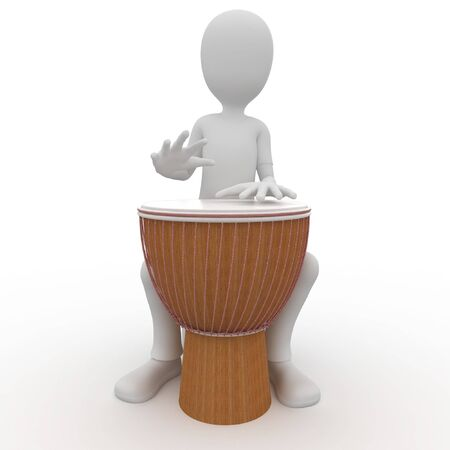ritme: 3D man spelen een grote djembe trommel  Stockfoto