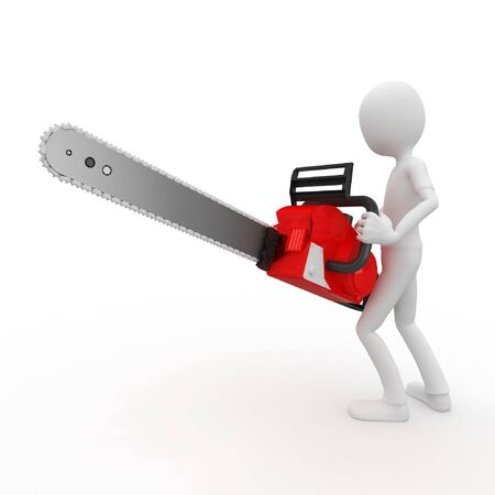 parody: 3d man with chainsaw isolated on white Stock Photo