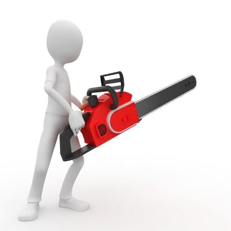 psychopathe: homme 3D avec chainsaw isol� sur fond blanc