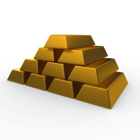 gold ingot: 3d gold bricks pile isolated on white