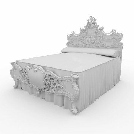 3d furniture detailed bed isolated on white photo