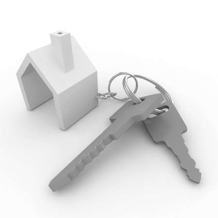 house keys: 3d house with keys isolated on white