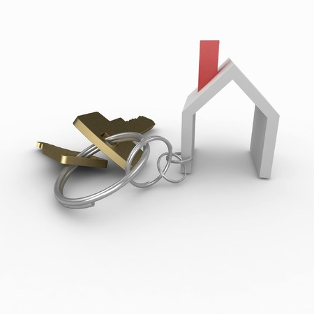 key chain: 3d house with keys isolated on white