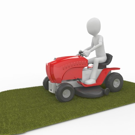 3d man with big red lawn mower photo