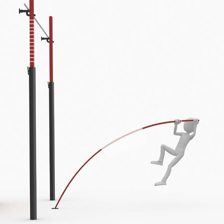 3d man high pole jump isolated on white Stock Photo - 8187381