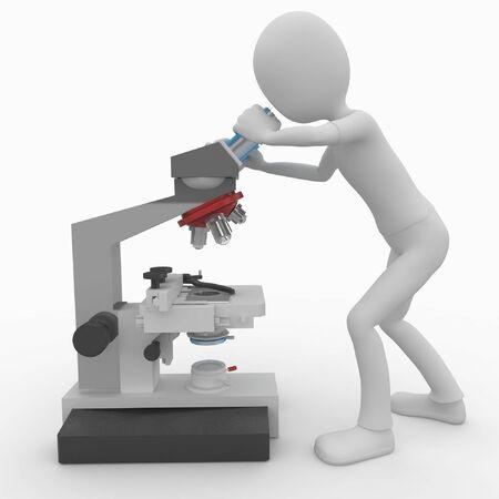 microscopio: hombre 3D con microscopio aislado en blanco
