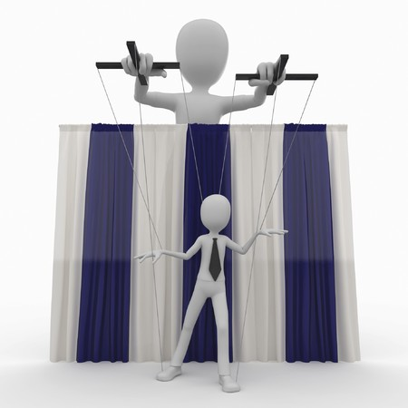 marioneta: hombre 3D con t�teres de cadena aislados en blanco Foto de archivo