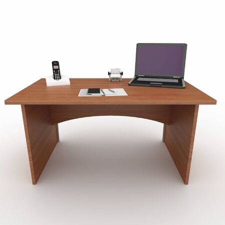 3d office desk with laptop isolated on white photo