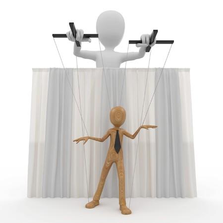 marioneta de madera: hombre 3D con t�teres de cadena aislados en blanco  Foto de archivo