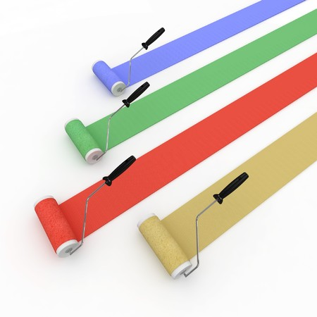 3d  paint rollers isolated on white stripes photo