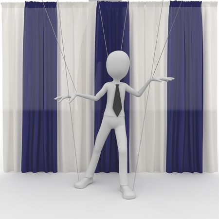3d man with string puppet isolated on white photo