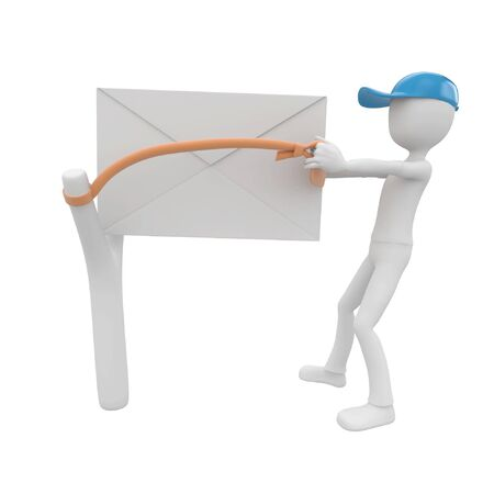 post man: 3d man post man with blank envelope and slingshot Stock Photo