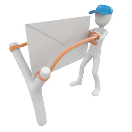 3d man post man with blank envelope and slingshot photo