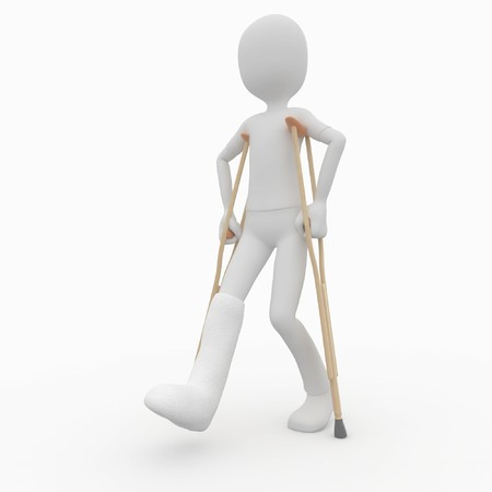 hurt: 3d man with crutches and broken leg