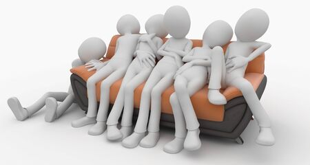 3d man with sofa isolated on white photo