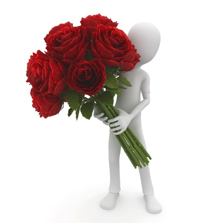 3d man with red roses isolated on white Stock Photo - 8187516