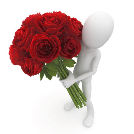 3d man with red roses isolated on white photo