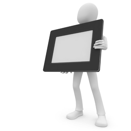 unrecognizable person: 3d man with blank photo frame isolated on white