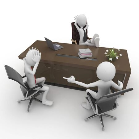 3d man at the office meeting isolated on white Stock Photo - 8187517