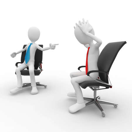3d man at the office meeting isolated on white