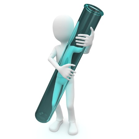 3d man with test tube isolated on white