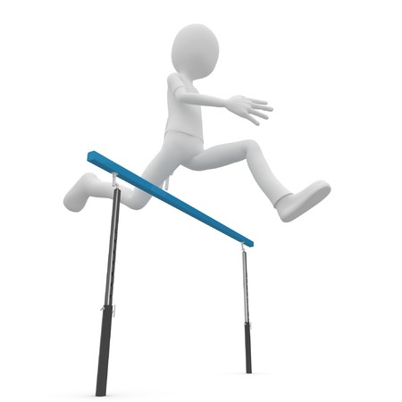 obstacle course: 3d man running over barrier isolated on white