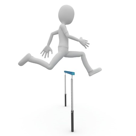 3d man running over barrier isolated on white photo