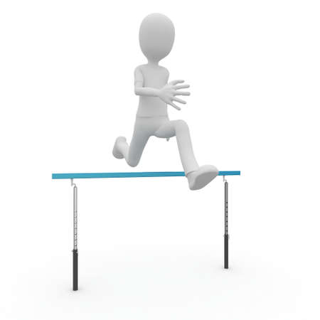 course of action: 3d man running over barrier isolated on white