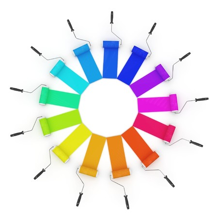 3d color wheel with rollers isolated on white photo