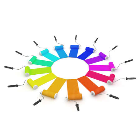 3d color wheel with rollers isolated on white Stock Photo - 8187425