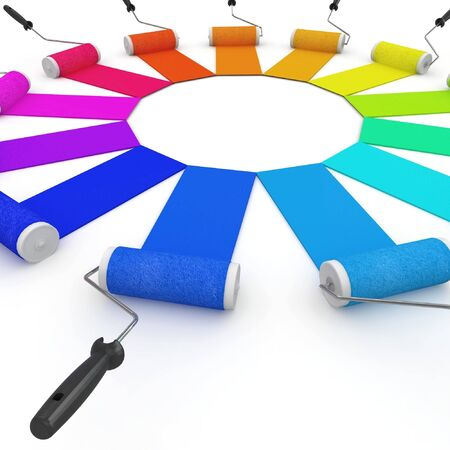 3d color wheel with rollers isolated on white Stock Photo - 8187568