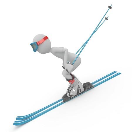 skipiste: 3D Mann Skifahren auf einem Abhang, isoliert auf weiss Lizenzfreie Bilder