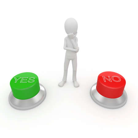 3d man with green and red buttons yes or no Stock Photo - 8187369
