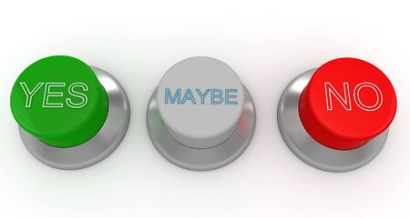 3d man with green, red and gray buttons yes no maybe Stock Photo - 8187549
