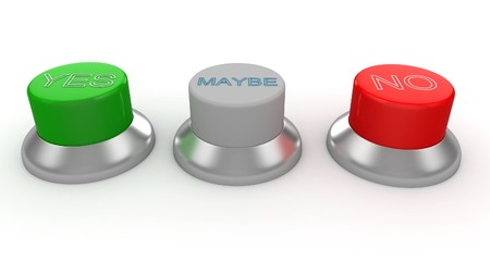 3d man with green, red and gray buttons yes no maybe Stock Photo - 8187511