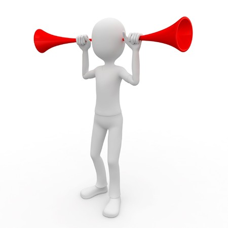 entendre: homme 3D avec vuvuzela isol�e sur fond blanc