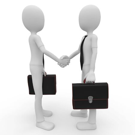 intention: 3d man business shaking hands isolated on white Stock Photo
